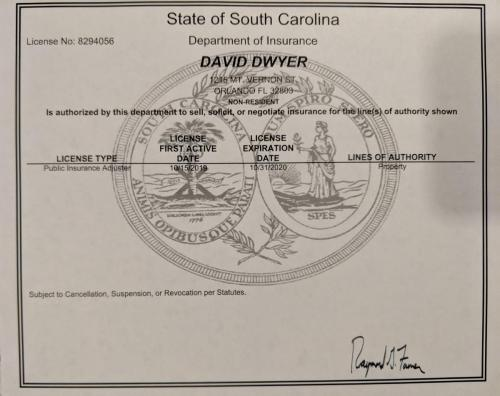 South Carolina Public Adjusters License